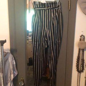 H&M Pants - Gold and black striped paper bag waist tie pants